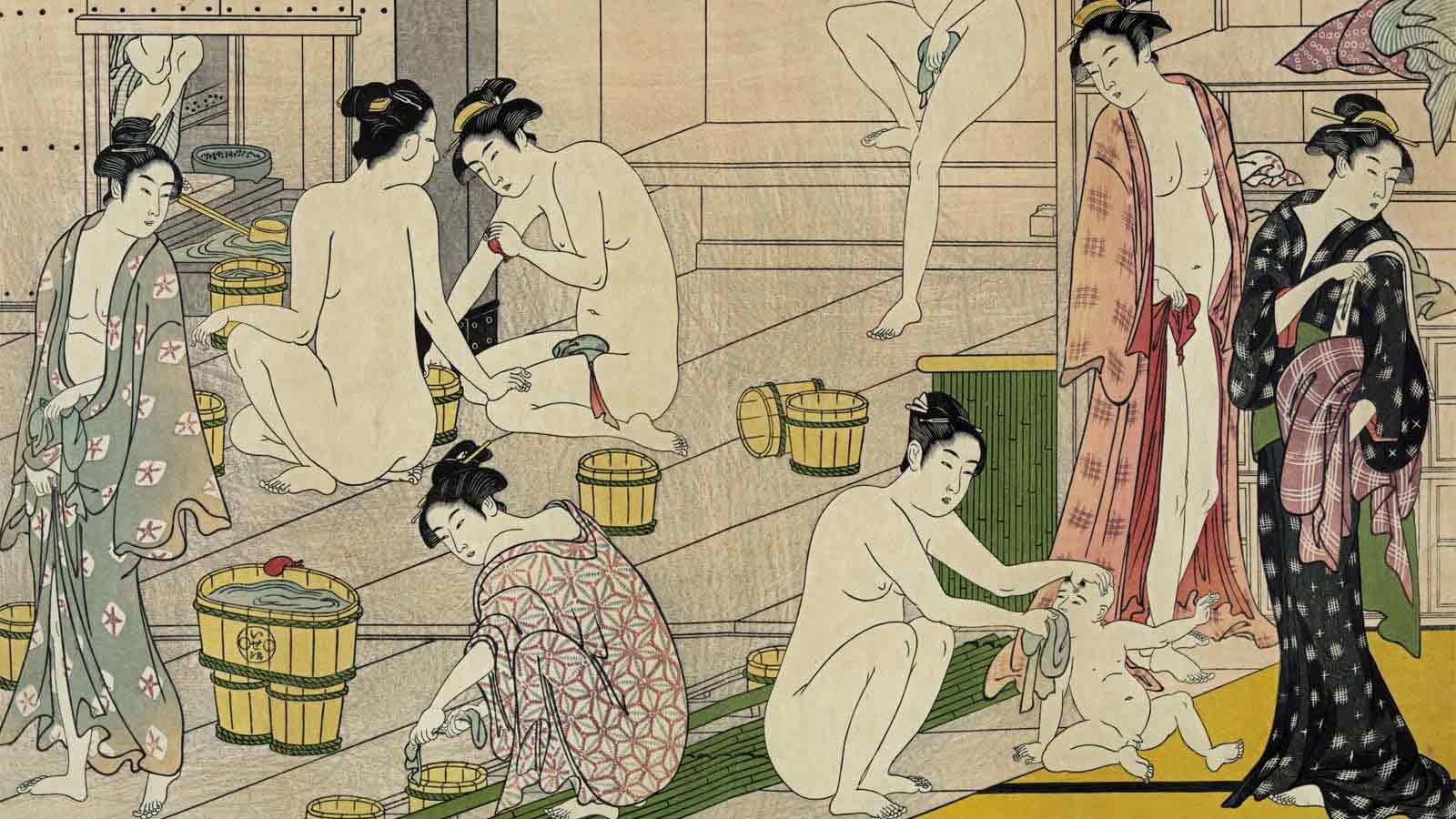 Detail from Bathhouse Women by Torii Kiyonaga, 1752-1815 | source: Library of Congress