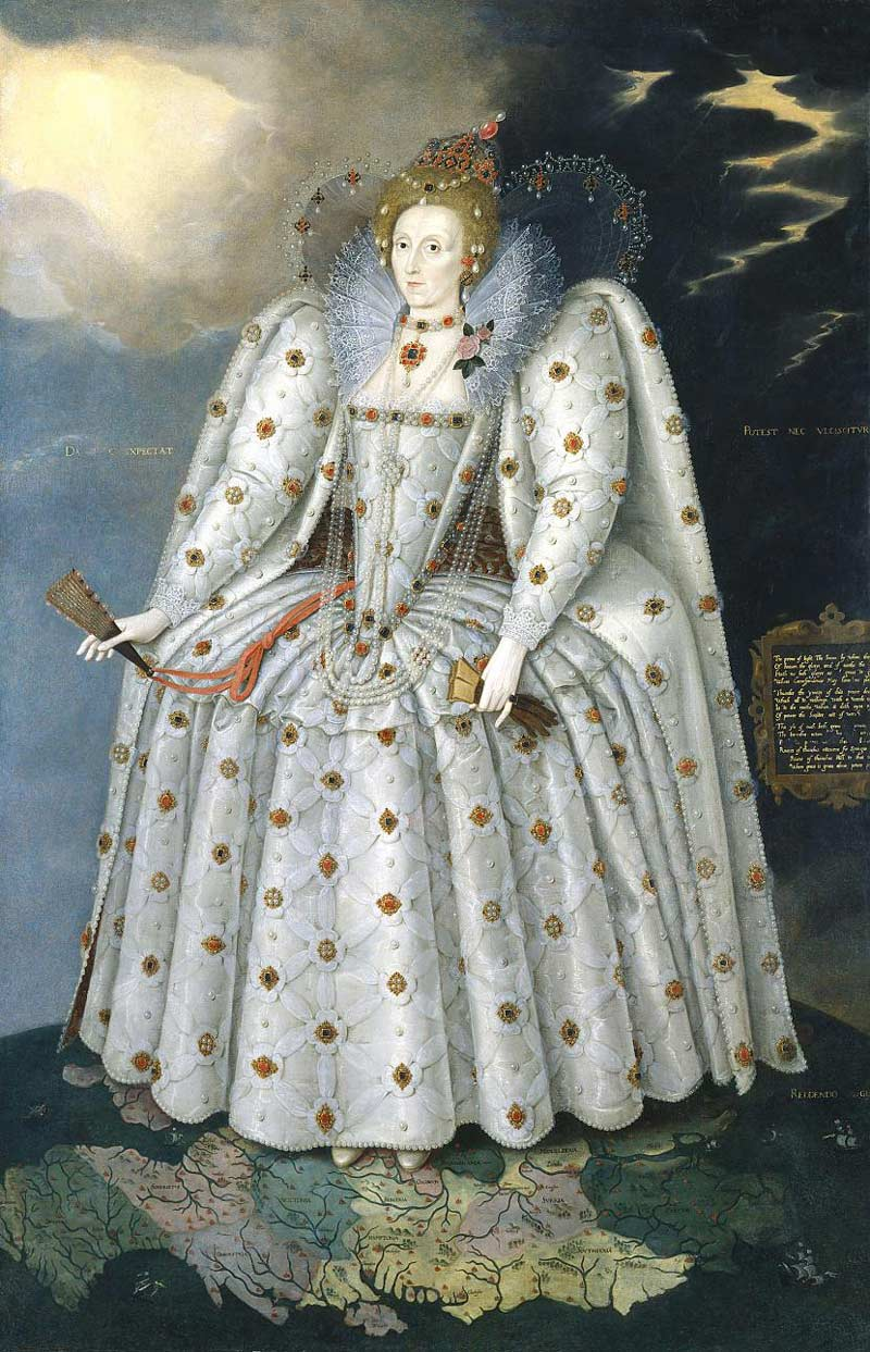 Elizabeth I, The Ditchley Portrait, c. 1592, National Portrait Gallery. Elizabeth stands upon England, and the top of the world itself. Her power and domination are symbolised by the celestial sphere hanging from her left ear. The copious pearls represent her virginity and thus maleness | source: Wikimedia Commons