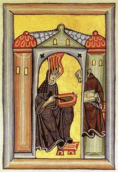 Illuminated image from Hildegard of Bingen's (1098-1179) Scivias, depicting her enclosed in a nun's cell, writing | source: Wikimedia Commons
