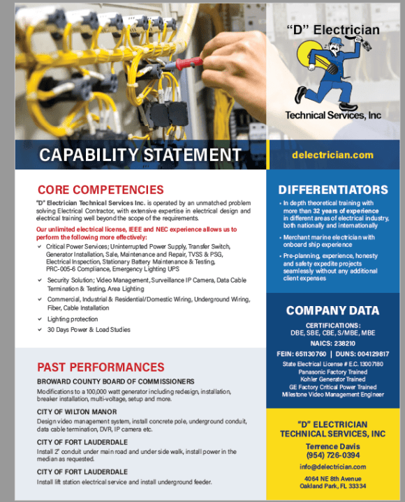 D Electrician Capability Statement