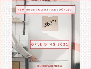 Reminder: solliciteer vóór 21-9 voor de opleiding 2021