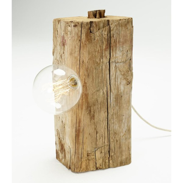 Lámpara Bulb de sobremesa realizada en madera con bombilla vista de Juan Ruiz Rivas