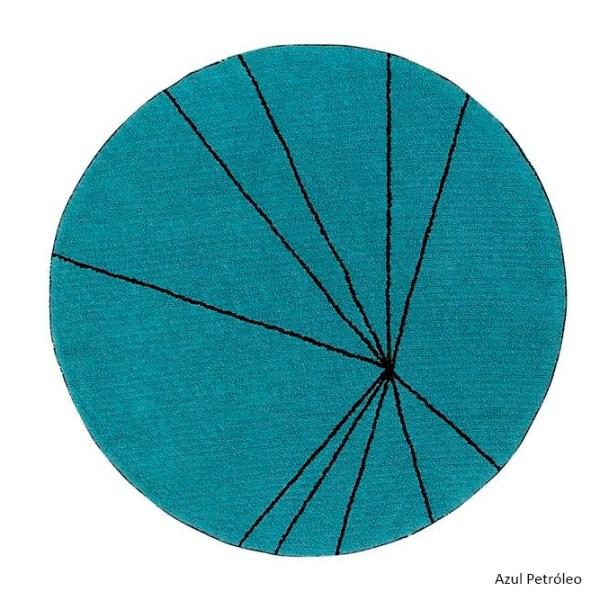 Alfombra lavable Trace azul petroleo de Lorena Canals