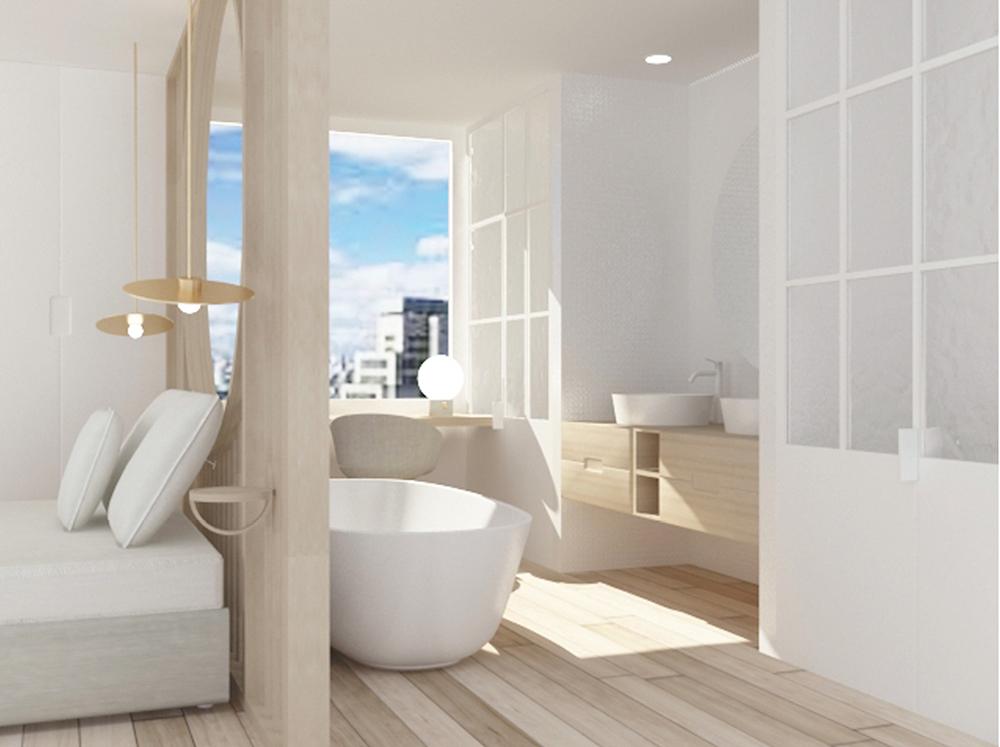 diseño de baño de una habitación de hotel