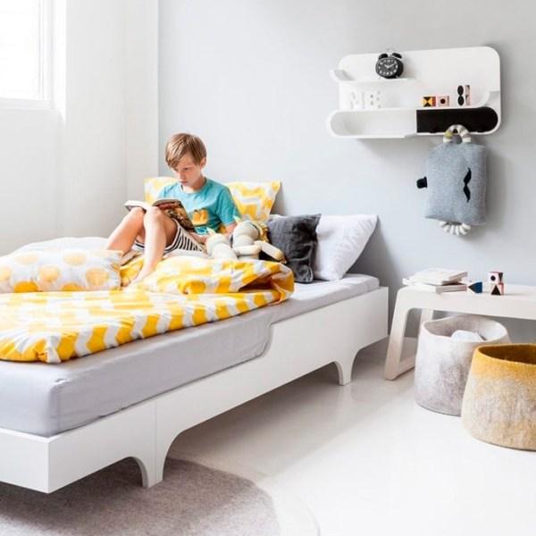 Cama juvenil de 75cm de ancho de la firma holandesa Rafa Kids acabado blanco laca