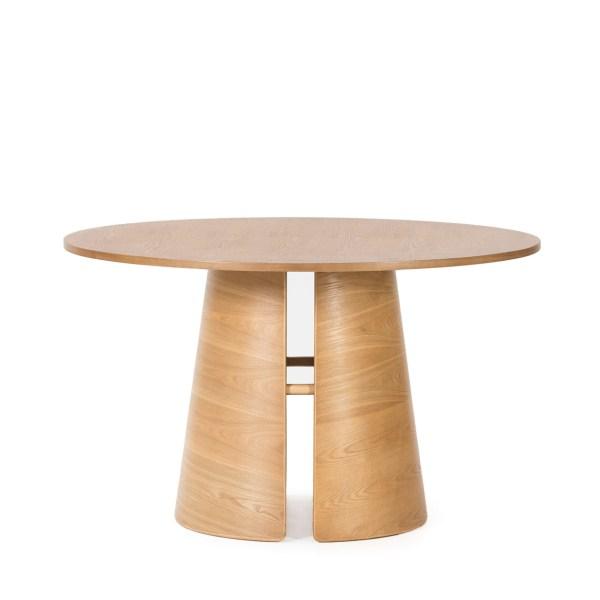 mesa de comedor redonda de roble