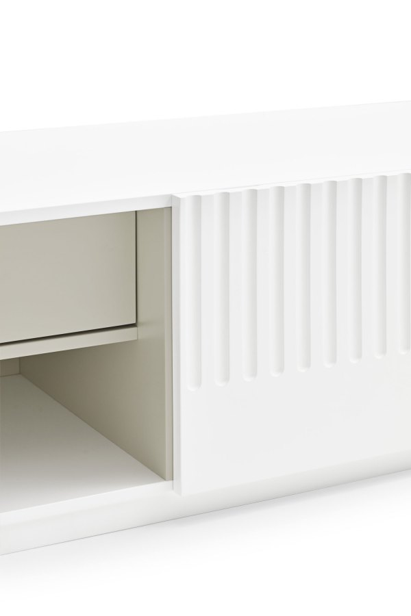 detalle interior mueble de tv Doric blanco de Teulat