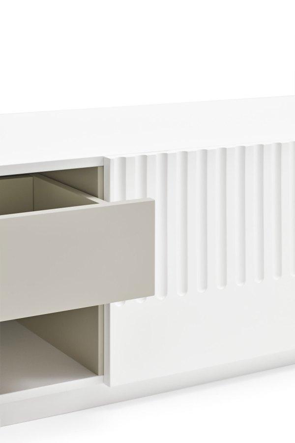detalle cajón mueble de tv Doric blanco de Teulat