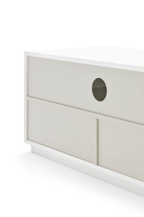 detalle trasera mueble de tv Doric blanco de Teulat