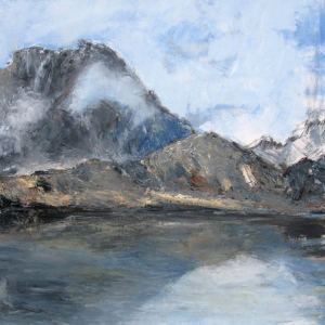 Le lac du Lauzon (Parc des Ecrins) - huile sur toile - 80x80cm