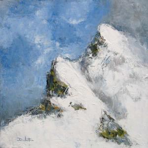 Sommet du Mont Maudit (Massif du Mont Blanc) - huile sur toile - 40x40cm