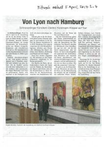 "Mittwoch aktuell 5. April 2017 . Germany . Picture caption : ""Angela Beneitez, Curator of the exhibition and Dietlind Horstmann-Köpper"" (Exhibition Art&cie 2017 . Picture in front of the paintings and sculptures of Dietlind Horstmann-Köpper . Lyon . France)"