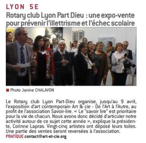 Le Progrès 06/04/17 Le Rotary club Lyon Part-Dieu organise jusqu