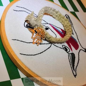 Bracelet macramé corde et licorne