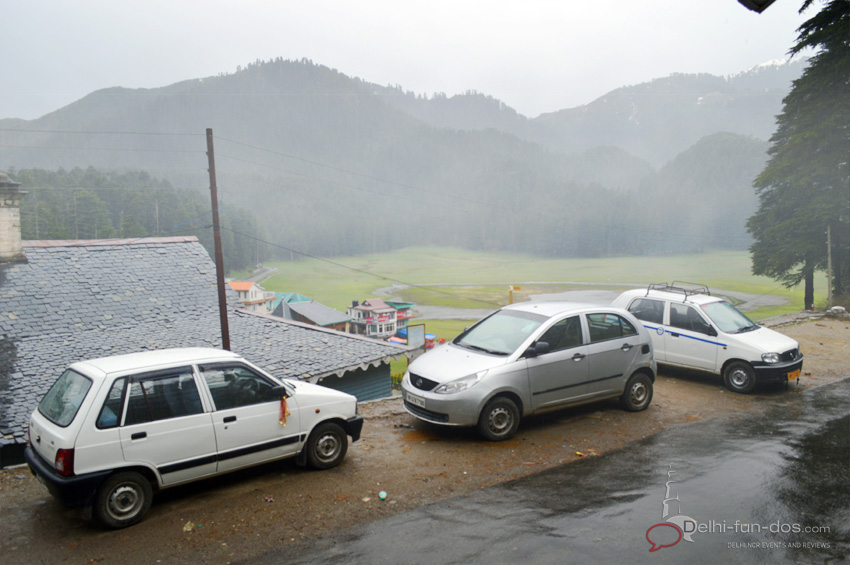 It rained on one of the days that we spent in Khajjiar and the mist covered meadow seemed surreal.