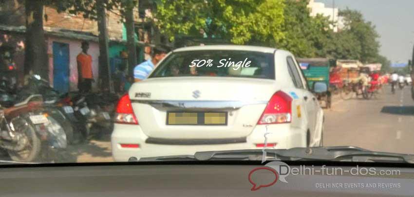This car sticker made us hum Band Baaja Baraat's song..... Adha ishq aadha hai...aadha ho jaayega...