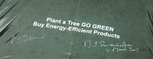 Green Umrella signed by Dr. Swaminathan and Prof. M.L. Dewan