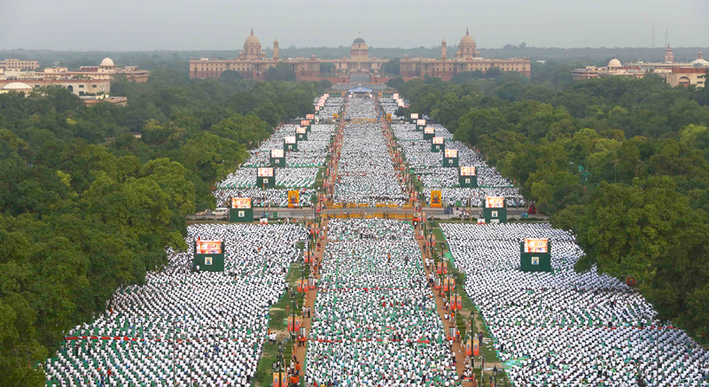 Image result for Yoga Day rajpath