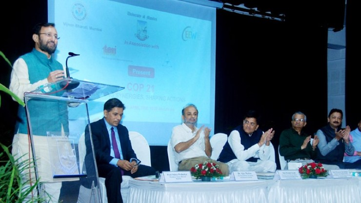 """The Minister of State for Environment, Forest and Climate Change (Independent Charge), Shri Prakash Javadekar addressing at the seminar on """"COP 21- Building Synergies, Shaping Action"""" in Mumbai on April 02, 2016. The Minister of State (Independent Charge) for Power, Coal and New and Renewable Energy, Shri Piyush Goyal and other dignitaries are also seen."""