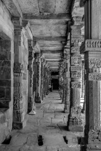 Ruins of old temples inside Qutub Complex