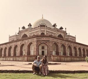 Posing in front of Humayun's tomb