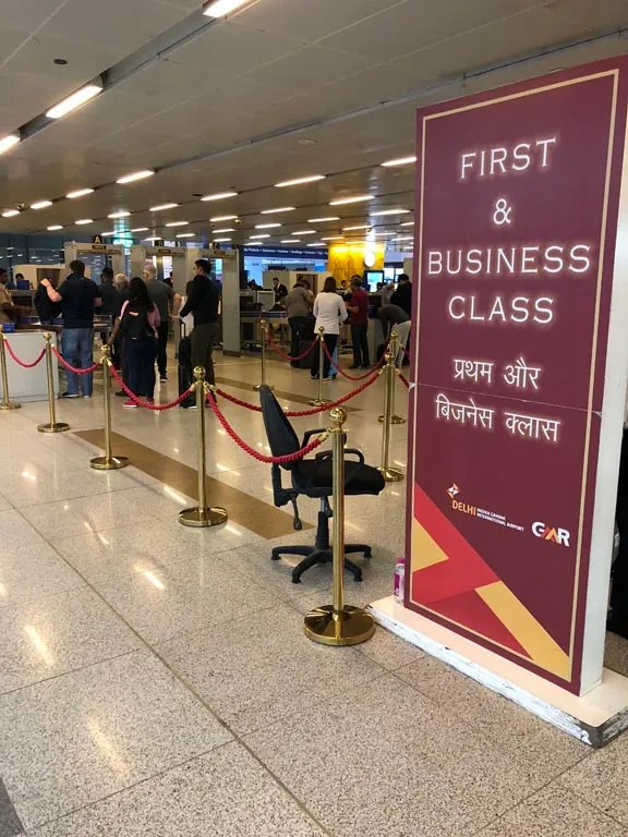 Delhi Airport Security check for business class