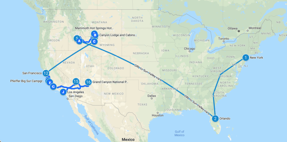 USA Itinerary