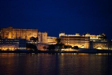 Udaipur palace at night