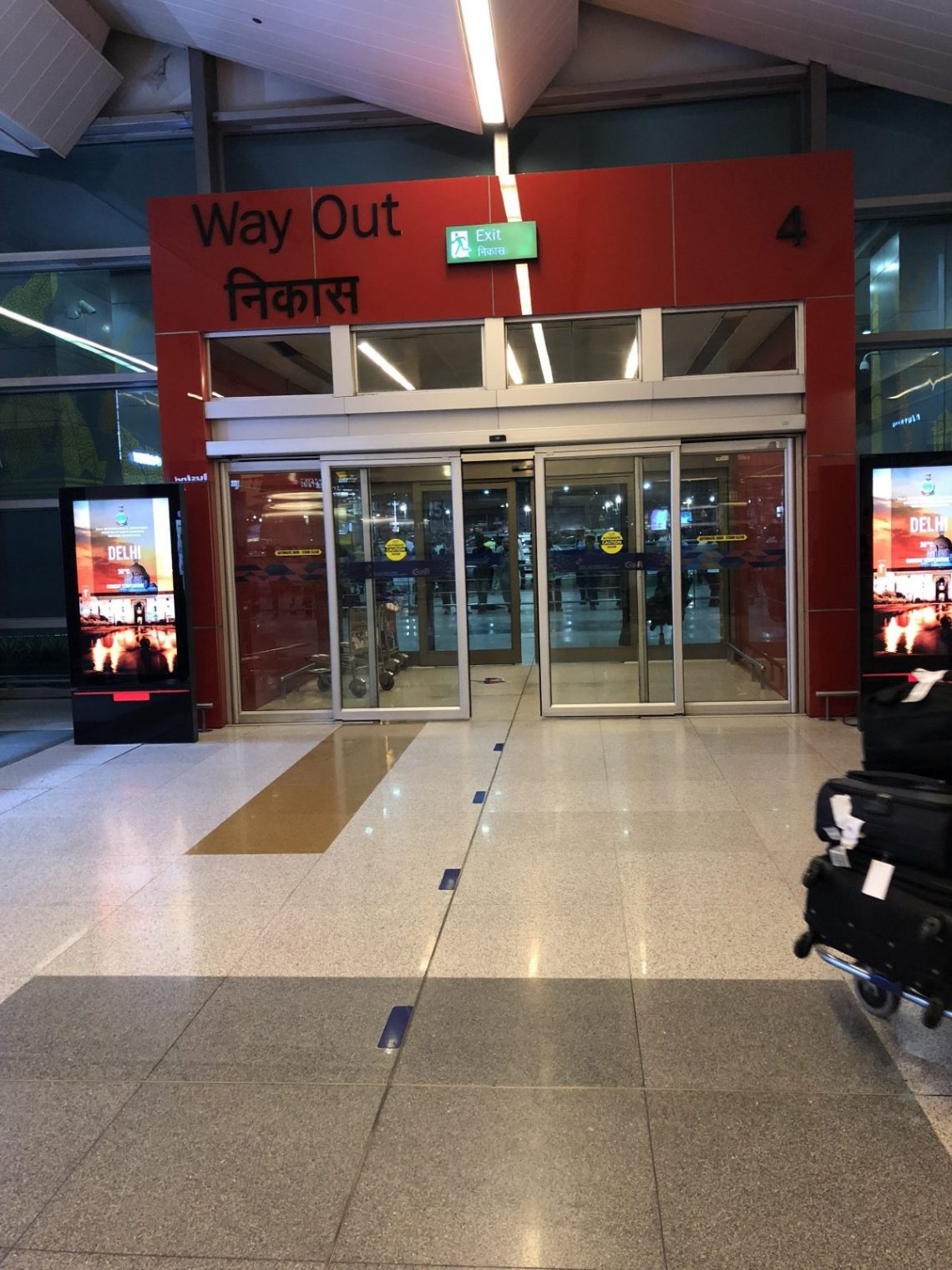 Final Exit from the arrival halls at Delhi's International airport