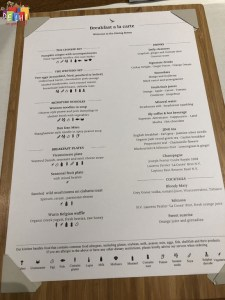 Breakfast menu at Cathay Pacific first class Lounge Heathrow Terminal 3