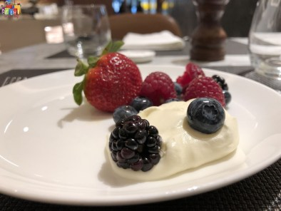 Fruits and Cream at Qantas Lounge heathrow terminal 3