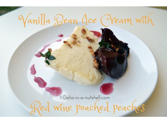 vanilla-bean-ice-cream with red wine poached peaches