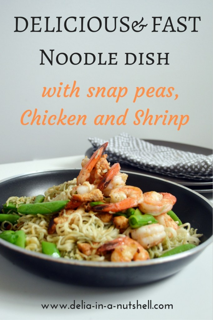 Noodle dish with shrimp, chicken and snap peas