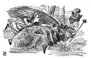 """Královna Alence: """"Abys zůstala na místě, musíš stále běžet, jak jen to dovedeš."""" (Kredit: John Tenniel, ilustrace z knihy Lewise Carrolla, Through the Looking-Glass, 1871)"""
