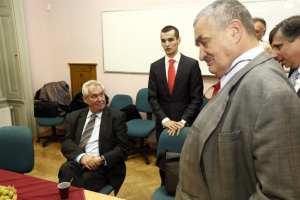 Milošš Zeman, moderátor Jakub Janda a Karel Schwarzenberg a Jan Fischer