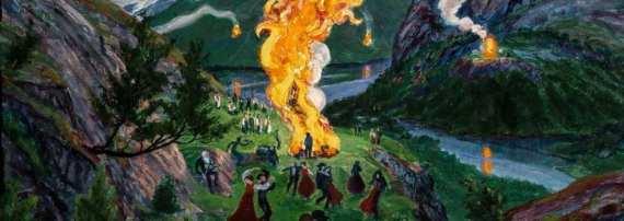 Nikolai Astrup: Vatra o letním slunovratu, před r. 1915. Kode Art Museums of Bergen/Astrup Collection/Savings Bank Foundation DNB