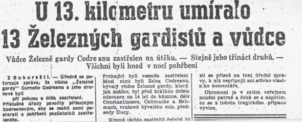 U 13. kilometru umíralo 13 Železných gardistů a vůdce