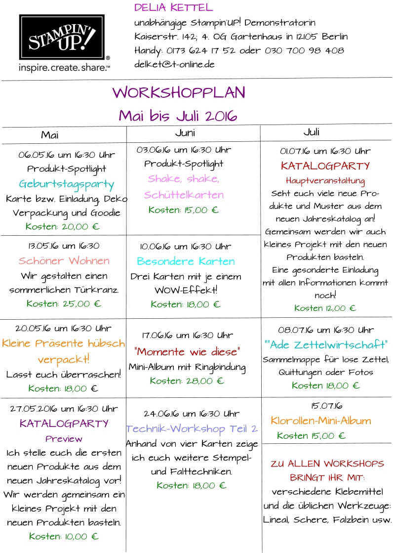 Workshopplan Mai bis Juli 2016