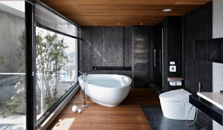 Bathroom with floor to ceiling windows
