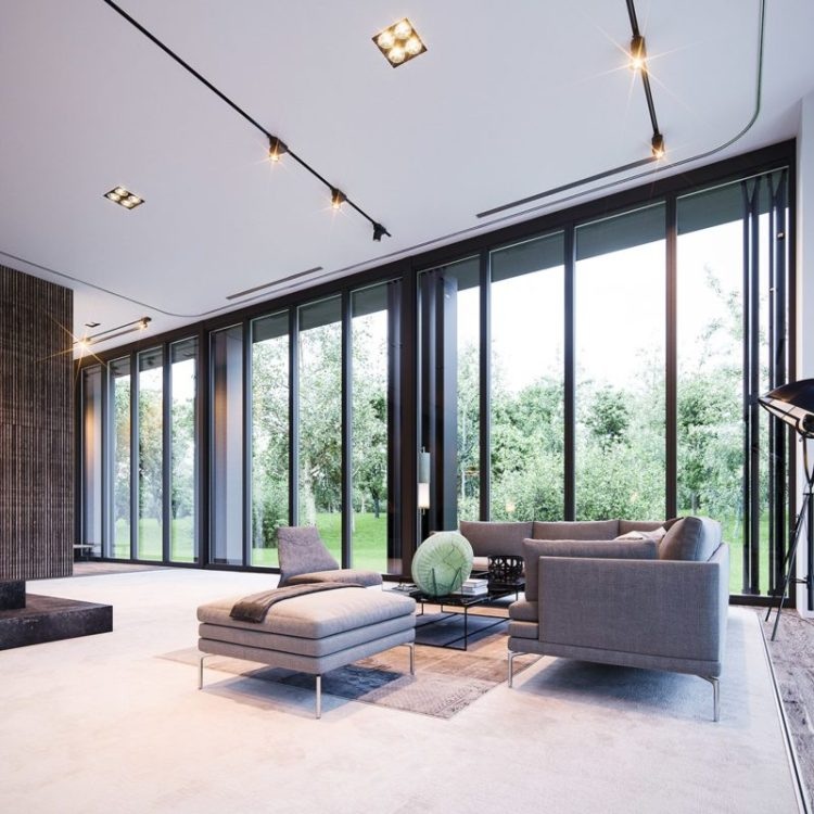 Minimalist home with floor to ceiling windows