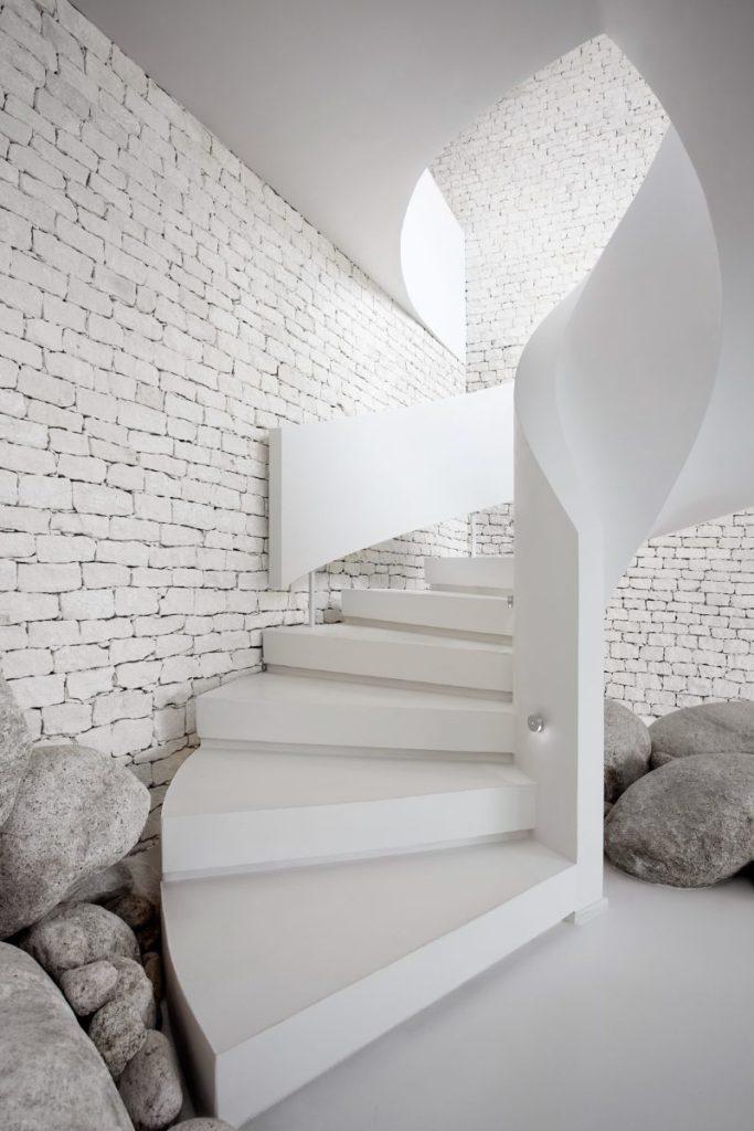 White Brick Wall Modern Stairwell