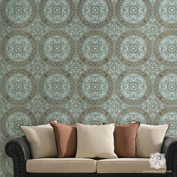Damask Stencil Wall Decor