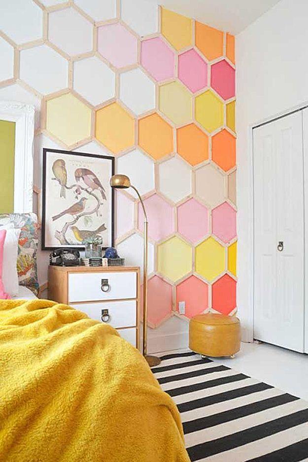 Honeycomb Wall Girl Room Decor Ideas