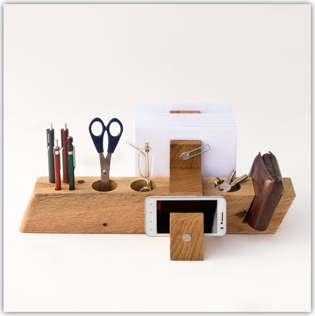 DIY Wood Block Desk Organizer Ideas