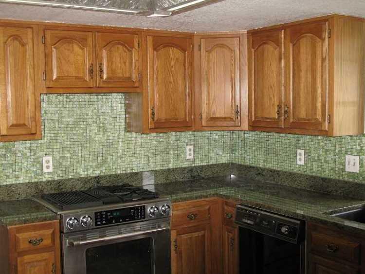 best kitchen tile backsplash with oak cabinet
