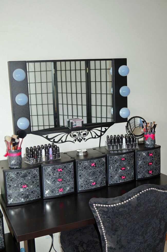 diy black makeup room ideas
