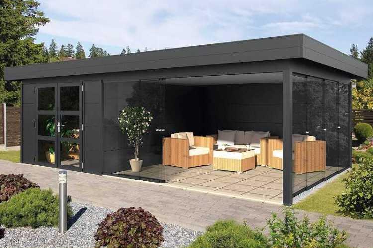 Outdoor-cabin flat roof