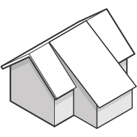 gable roof with shed addition