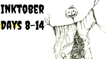 Pen and ink pumpkin head scarecrow