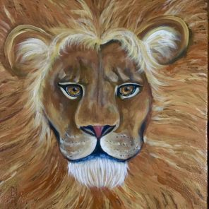 acrylic painting of lion face and mane